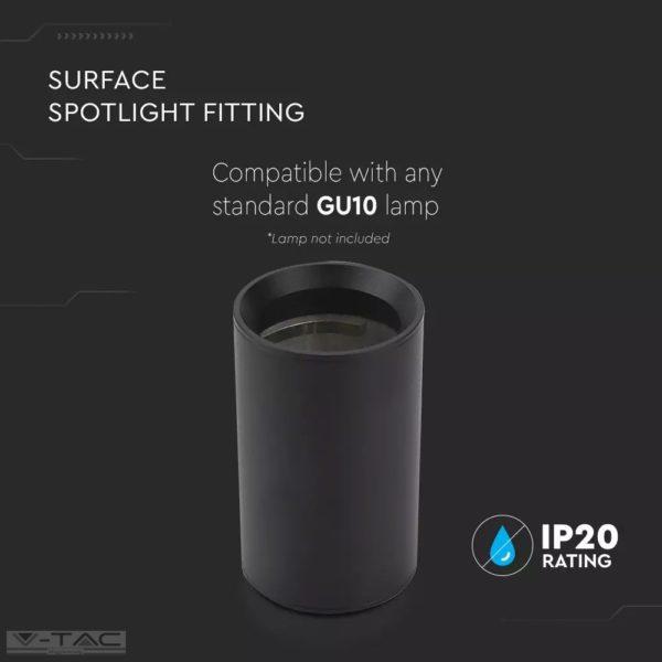 Felületre szerelhető GU10 keret fekete kör - 8949